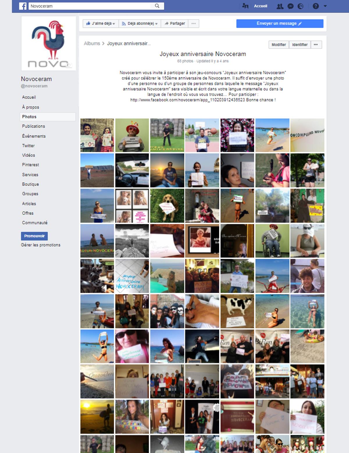 Album Facebook Joyeux anniversaire Novoceram