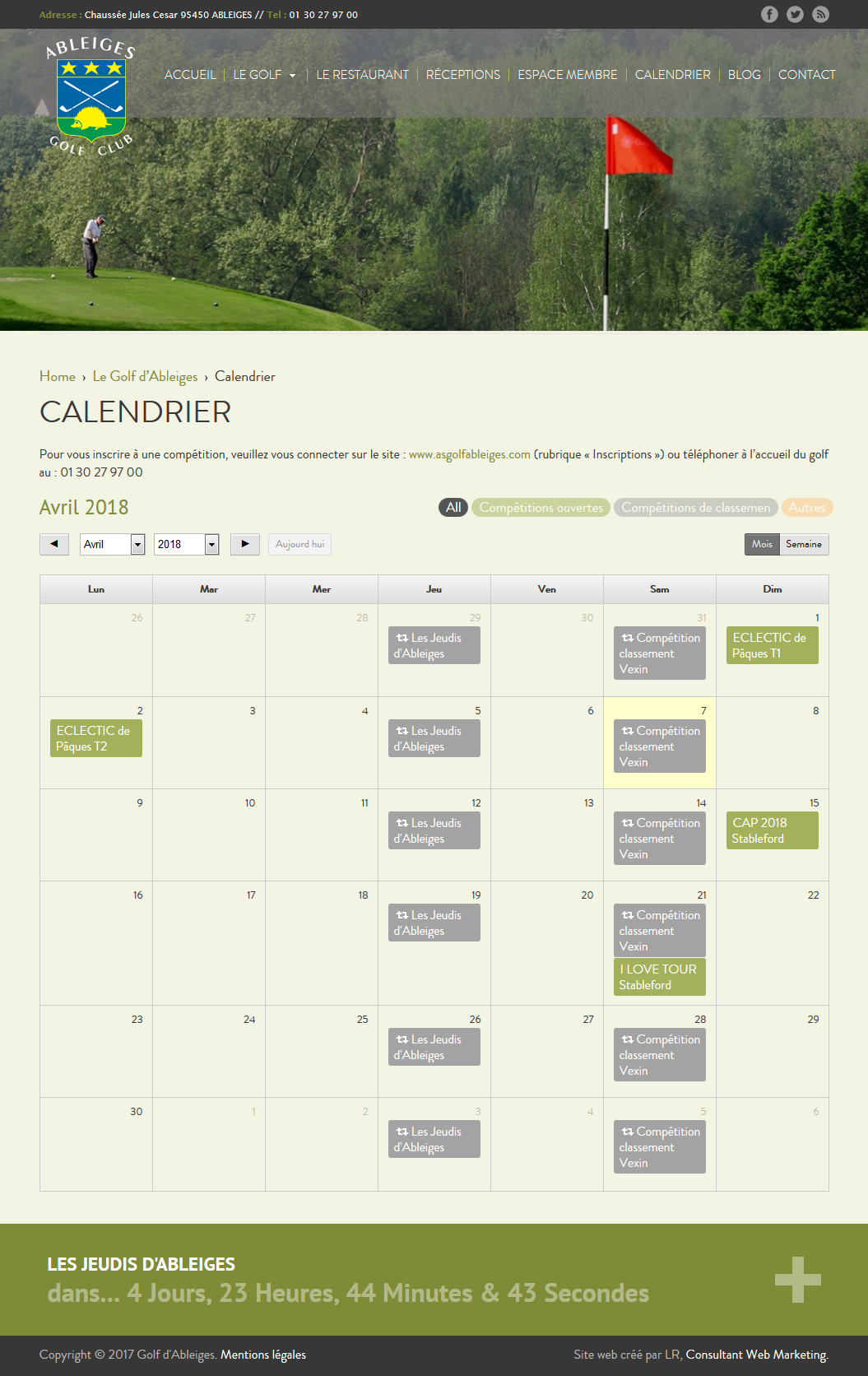 golf ableiges calendrier